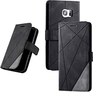 Galaxy S7 Edge (SC-02H / SCV33) 手帳型ケース 財布型 カード収納 スタンド機能 マグネット開閉 軽量TPU 収納力抜群 横置き機能 ソフトシリコン スマホケース 防指紋 レンズ保護 落下防止 全面保護 (ブラック)