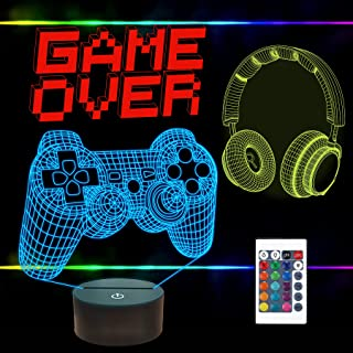 FULLOSUN Pixel Game Over Illusion Lampe, Gamepad 3D Nachtlicht (3 Muster) mit Fernbedienung, 16 Farbwechsel, Gaming Room H...
