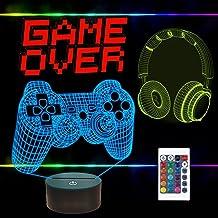 FULLOSUN Pixel Game Over Illusion Lamp, Gamepad 3D Nachtlampje (3 Patronen) met Afstandsbediening 16 Kleur Veranderende Ga...