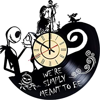 Nightmare Before Christmas Vinyl Clock Gift For Tim Burton Fans We're Simply Meant To Be Wall Decor Disney Art Jack And Sally Room Artwork