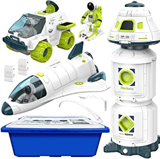 4-in-1 Space Toy Set: Space Shuttle, Space Capsule, Space Rover, Space Station, 3 Astronauts Figure, and Multi-Purpose Sto...