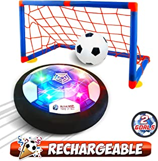 ActiveMVP Kids Toys Rechargeable Hover Soccer Ball Set with 2 Goals, Indoor LED Light Up Fun Air Soccer Game - No Battery Needed, Strong Improved ABS Plastic Quality - Boys Girls Age 3 4 5 6 7 8 9 11+