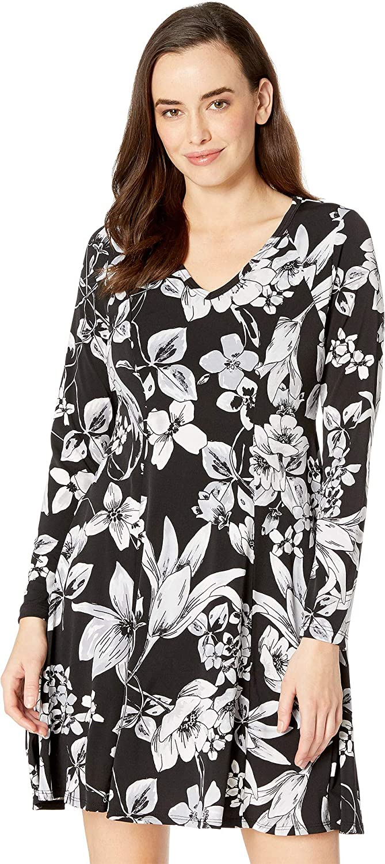 Karen Kane Womens Long Sleeve Fit & Flare Dress