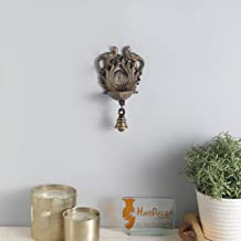 Two Moustaches Ethnic Design Twin Peacock with Bell Brass Wall Hanging Diya- Royal Brown