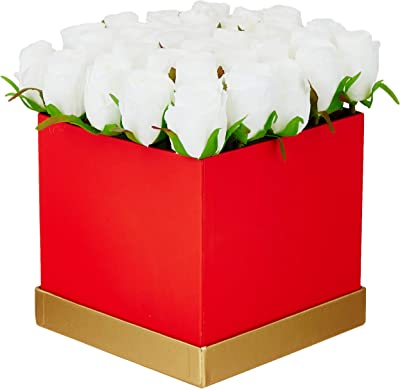 Fourwalls Artificial Rose Flowers in a Box for Valentines Day Gift (25 Flower in Box, 20 cm Tall, Red and White)