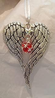 July Birthstone Angel Wings Memorial Ornament
