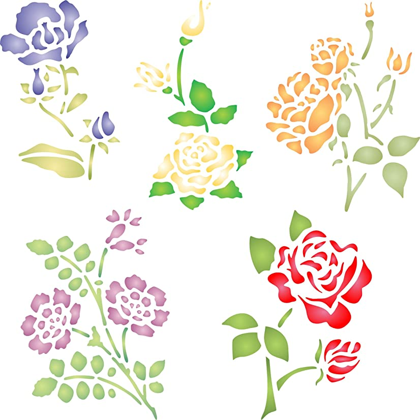 """Rose Set Stencil - (size 6.5""""w x 6.5""""h) Reusable Wall Stencils for Painting - Best Quality Decor Ideas - Use on Walls, Floors, Fabrics, Glass, Wood, and More…"""