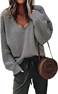 ZHENWEI Womens V-Neck Sweater Pullover Long Sleeve Oversized Loose Sweatshirts