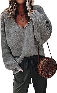 Womens V-Neck Sweater Pullover Long Sleeve Oversized Loose Sweatshirts