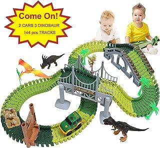 Ideallife Dinosaur Toys 144Pcs Race Car Flexible Track, Create a Road, Toys Set for Christmas & Birthday Gift, Safe Durable STEM Play Set for Boys Girls