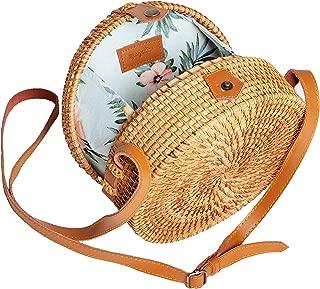 Rattan Bag Round Handwoven Shoulder - Leather Strap Adjustable Crossbody Straw Handbag