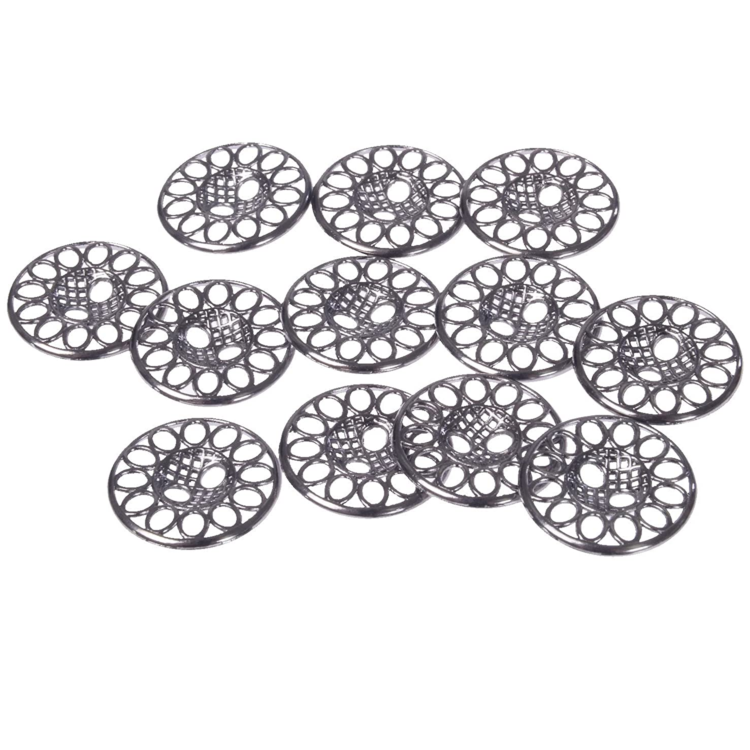 Mibo Zinc Die Casting Metal Button Perforated Filigree Design 2 Hole 28 Line Gunmetal (12pc)