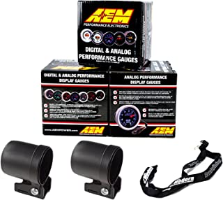 AEM 52mm Gauge Kit AFR Ratio Wideband UEGO & Oil Pressure & Boost w/Auto Meter Mounting Cups
