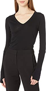 Enza Costa Women's Cashmere Blend Cuffed V-Neck Top with Thumbholes
