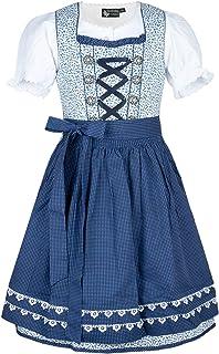 MADDOX Kinderdirndl Mimmi Set weiß blau Blümchenprint Pünktchenschürze
