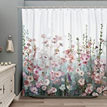 SUMGAR Colorful Flowers Shower Curtain for Bathroom Pink Floral Romantic Wildflower Plants Nature Scenery Decoration Curta...