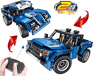 Sams Bestoyz 2in1 Building Bricks Remote Control Car, Off Road Race Jeep & Pickup Truck Blocks RC Toys Vehicle, Engineering STEM Toys for Boys & Girls Age 6,7,8+