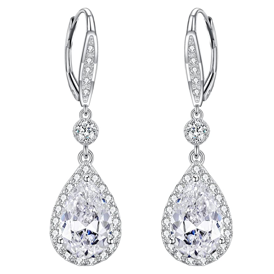 EleQueen 925 Sterling Silver Full Cubic Zirconia Teardrop Bridal Long Dangle Lever-back Earrings
