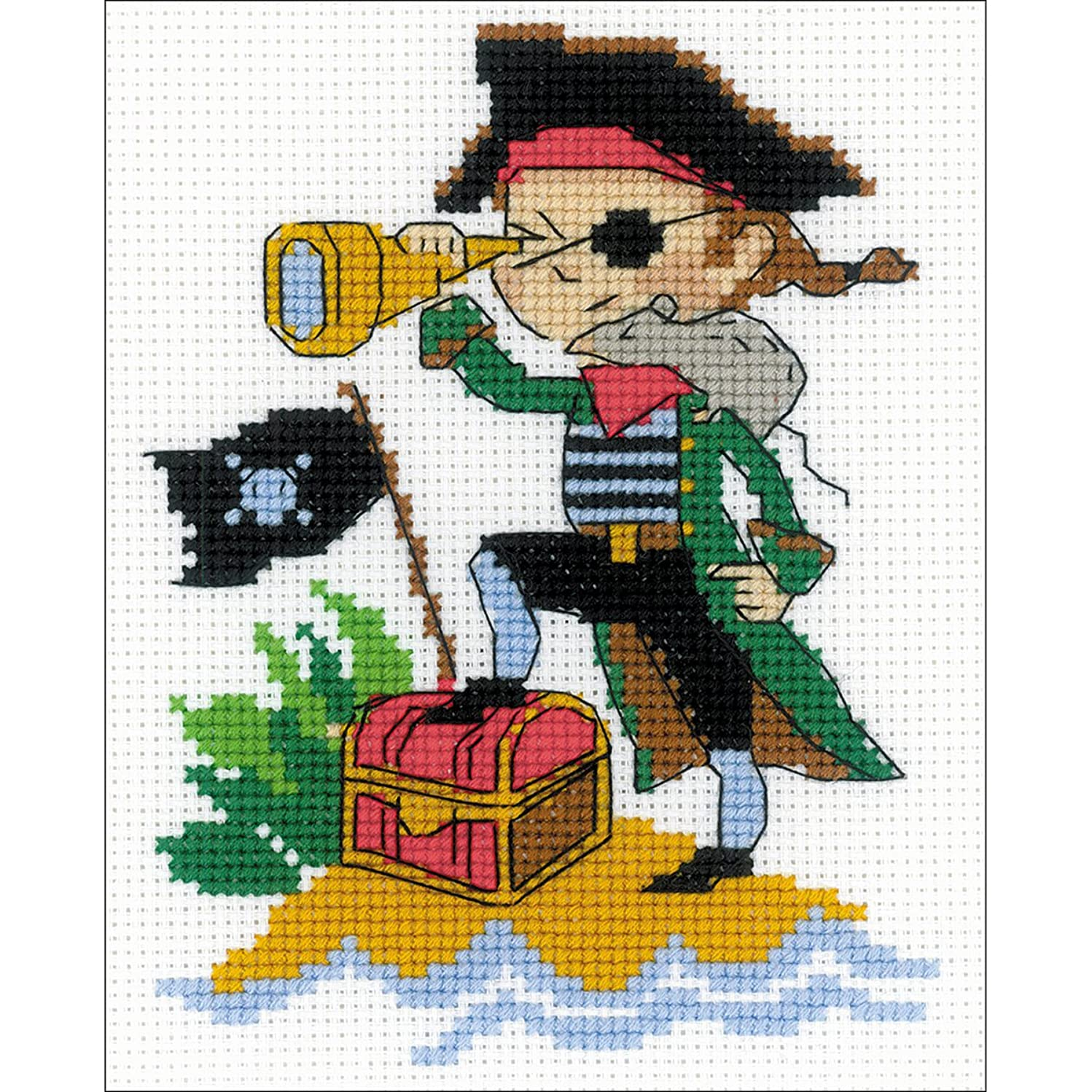 Brave Pirate Counted Cross Stitch Kit-5x6.25 14 Count