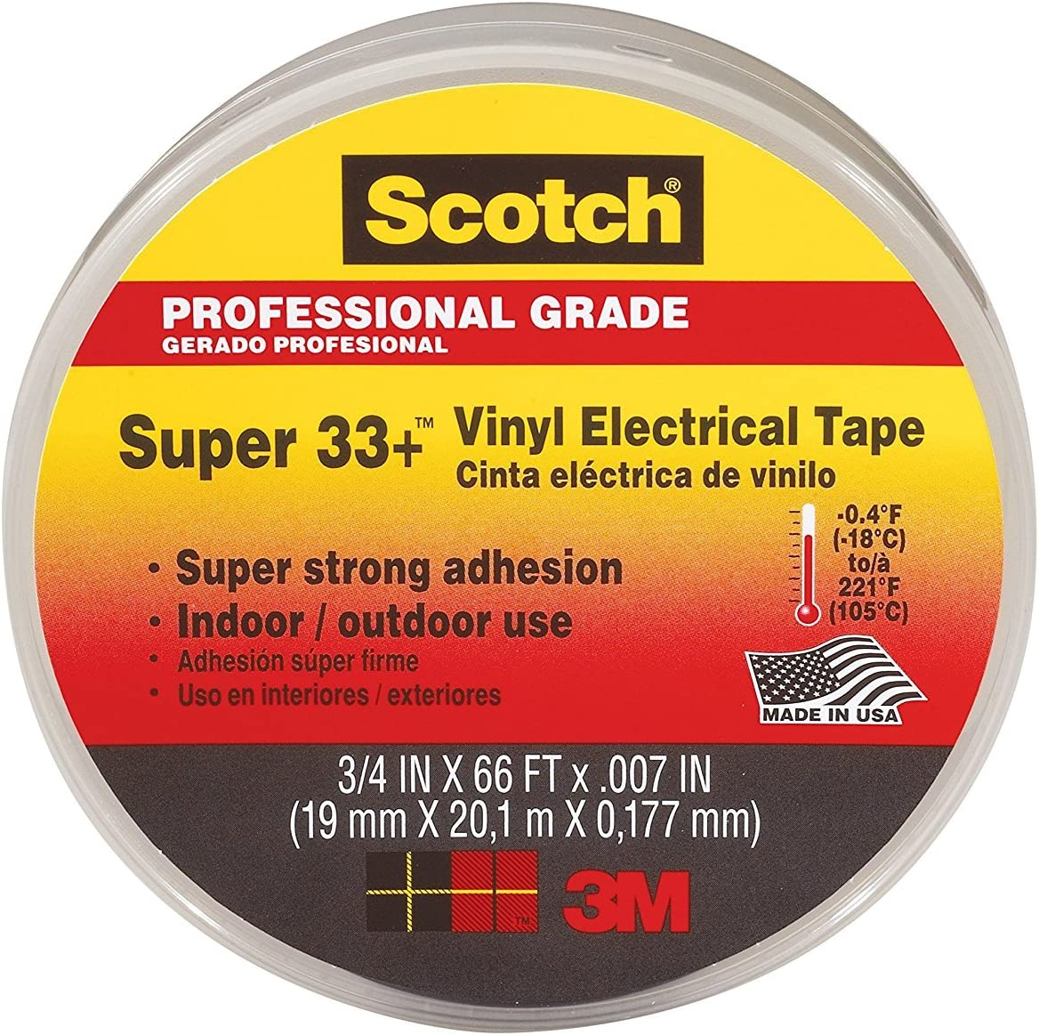 3M Scotch Super 33+ Vinyl Tape by .75-Inch Electrical 66-Feet shipfree High quality new