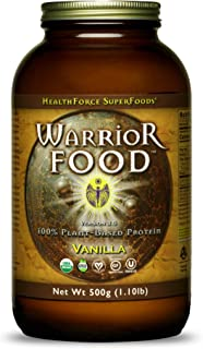 HealthForce SuperFoods Warrior Food, Vanilla - 500 Grams - Plant-Based Protein Powder with Minerals & Pea Protein - Certified Organic, Vegan, Non-GMO, Soy Free, Gluten Free, Sugar Free - 25 Servings