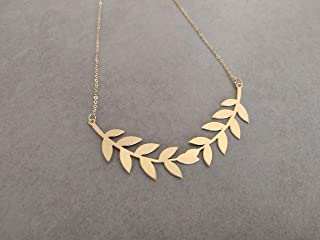 Gold Leaf Necklace, Bridal Leaf Necklace