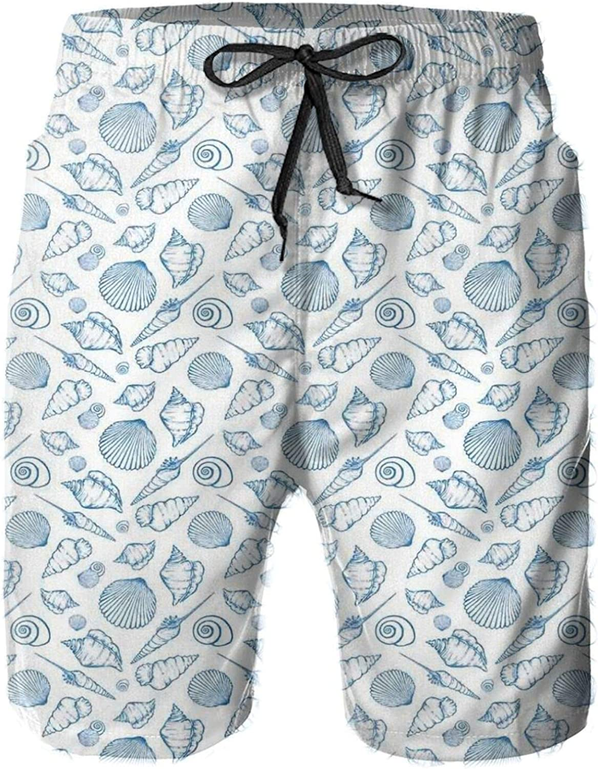 Under The Sea Concept with Seashells in Hand Drawn Style Maritime Shore Printed Beach Shorts for Men Swim Trucks Mesh Lining,XXL
