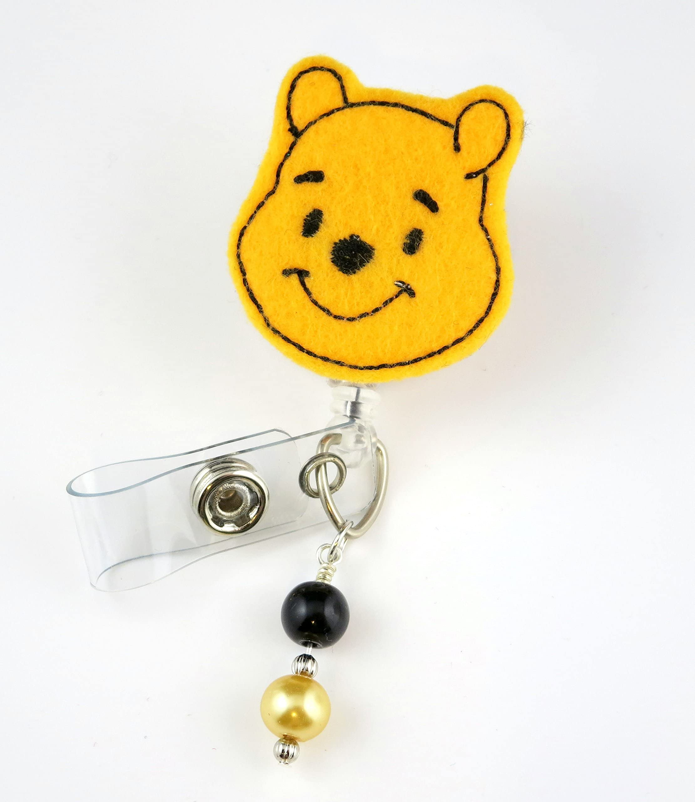 Black Bear Decorated Retractable Badge Reel ID Holder with Clip Backing