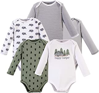 Touched by Nature Baby Boys Organic Cotton Long-Sleeve Bodysuits, Happy Camper, 6-9 Months