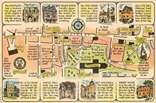 Historic Pictoric Map : Winchester Cathedral and College, 1948, Vintage Wall Decor : 66in x 44in