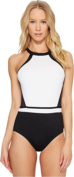 Jantzen - Black & White Medallion H-Back One-Piece