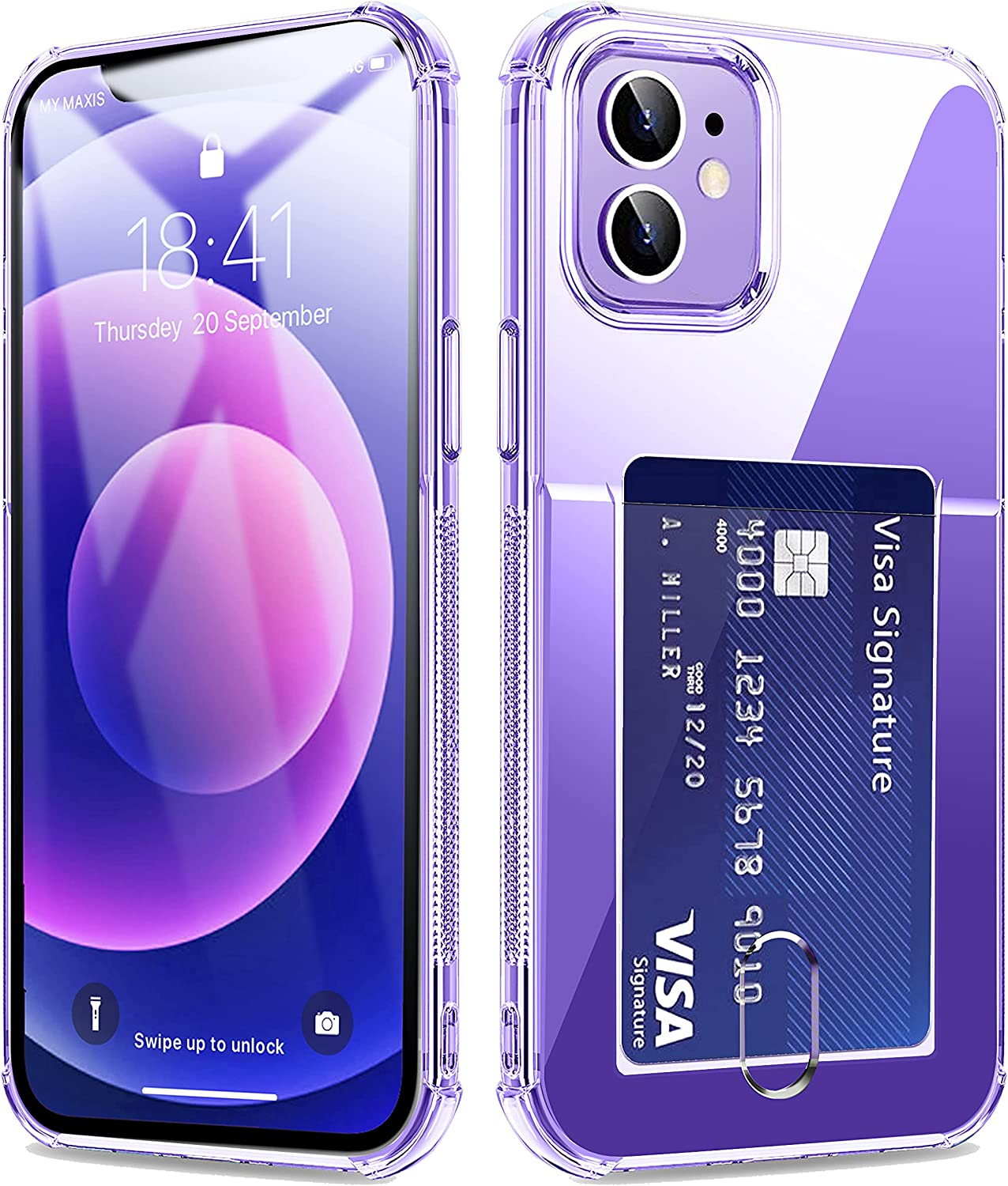 Crystal Clear iPhone 12 & iPhone 12 Pro Case with Card Holder, 360 Full Body Slim Fit Ultra Thin Coverage Protective Shockproof Wallet Case for iPhone 12 & 12 Pro 6.1 Inch 2020 (Clear)