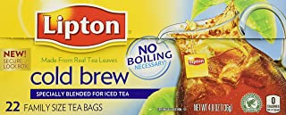 Lipton Cold Brew Family Iced Tea Bags Black tea 22 ct (Pack of 2)