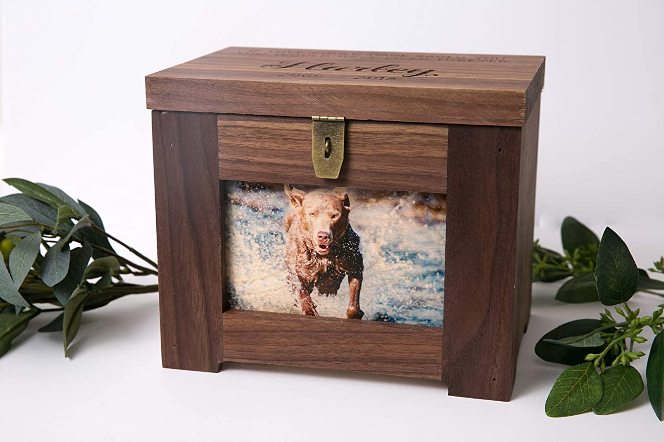 Personalized Premium Wood Pet Memory Box/Urn with Name and Quote or Poem - Memorial Photo Frame Chest Picture Keepsake - Dog, Cat, Lizard, Bird