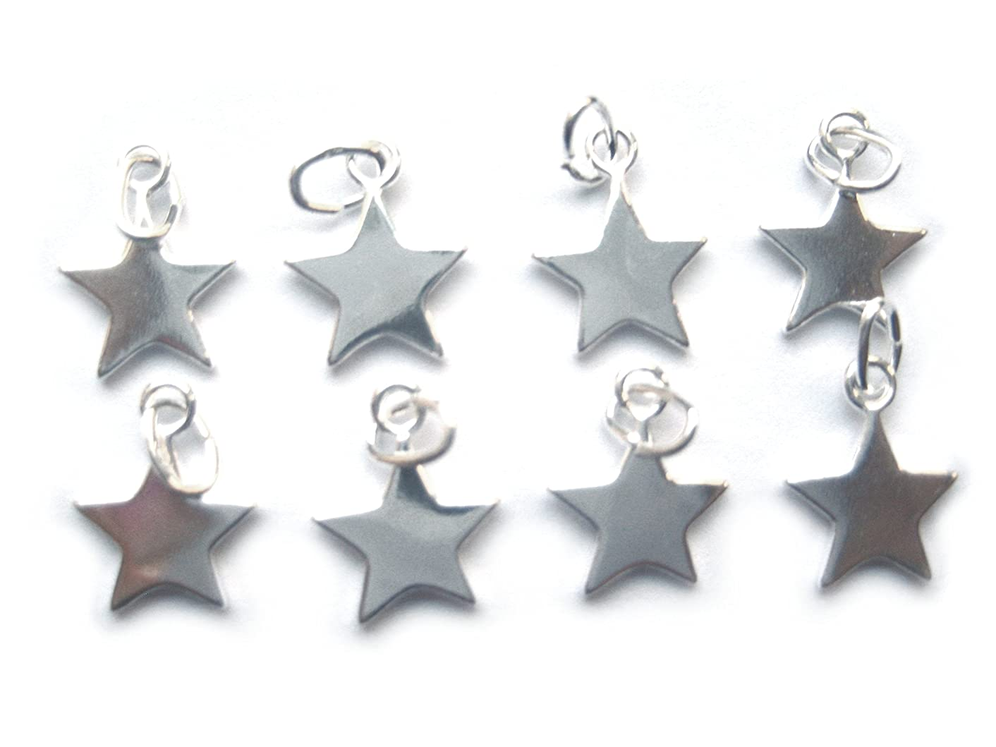 8 Qty. Sterling Silver Star Charm (12x10mm) .925 by JensFindings