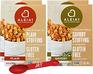 Gluten Free Stuffing Mix Holiday Variety Pack Includes: (2) Aleia's Savory Herb Stove Top Stuffing, 10 Oz. and (2) Aleias Gluten Free Plain Stuffing, 12 Oz. With a Bonus Measuring Spoon Included.