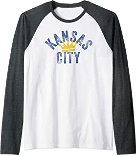 Kansas City Royal Blue KC Vintage Kc Local Fanware Design Raglan Baseball Tee