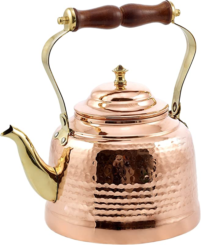 Old Dutch Hammered Copper Tea Kettle With Brass Spout And Wooden Handle 2 Qt 1869