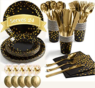 Moonmen 178 Pieces Party Supply Set Disposable Tableware with Balloon, Foil Paper Plates Napkins Cups Straws for Weddings,...