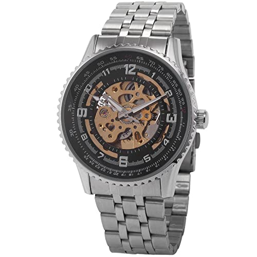AMPM24 New Mechanical Analogue Black Stainless Skeleton Mens Sport Wrist Watch Gift PMW023