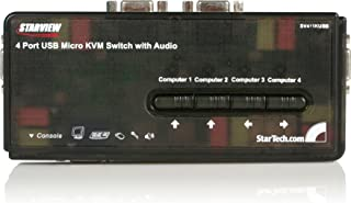 STARTECH.COM Kit Switch Kvm USB con Audio e Cavi 4 Porte, Colore Nero