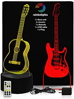 Guitar 3D Illusion Lamp A Great Gift for Any Guitar for Kids 2 Designs in 1 Box Acoustic and Electric with Remote Controller by rainbolights
