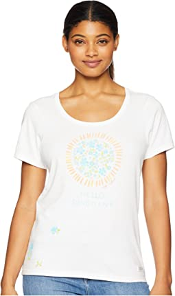 Flower Sun Crusher Scoop Neck T-Shirt