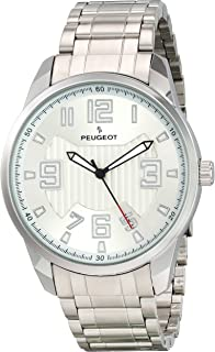 Peugeot Men's Large Silver-Tone Wrist Watch - Easy Reader with Carbon Fiber Cutout Dial and Bracelet