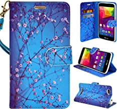 BLU VIVO XL Case, Customerfirst Flip Wallet Pouch, Slim Folio Case with Kickstand, 2 Credit Card Slot Hand Strap - For BLU VIVO XL 5.5 inch smartphone FREE emoji keychain (Blossom Blue)