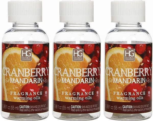 Hosley Set Of 3 55 Milliliter Cranberry Mandarin Fragrance Warming Oils Ideal Gift For Weddings Spa Meditation Settings W1