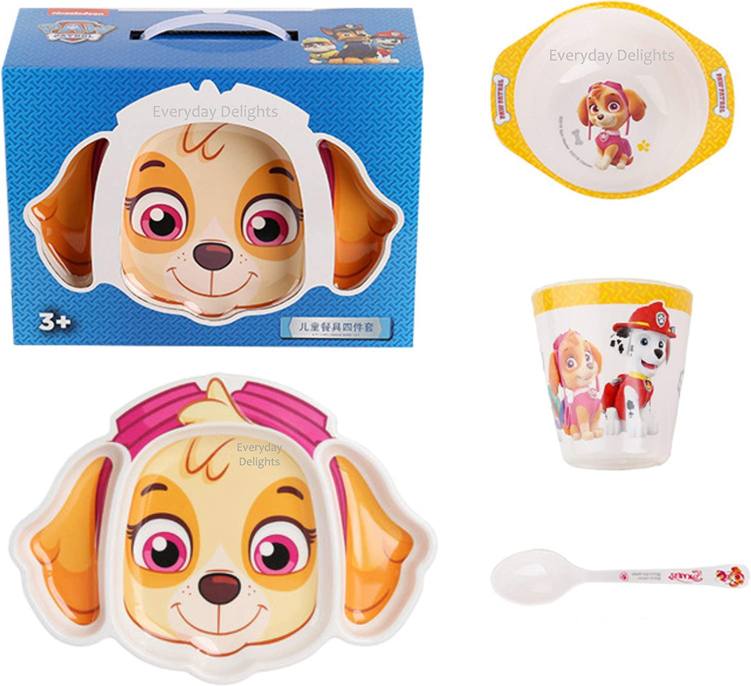 Paw Patrol Skye Dinnerware Flatware Meal Set for Girls Toddlers Kids Children – Plate Bowl Cup Spoon, 4 pieces