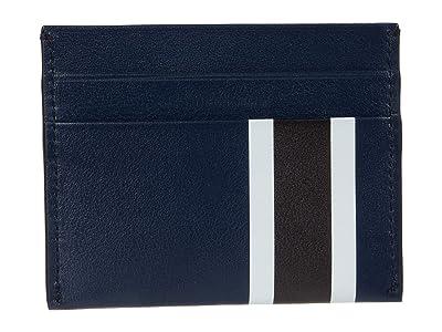 Shinola Detroit Striped Five-Pocket Card Case Smooth Grain Leather (Navy Multi) Wallet Handbags