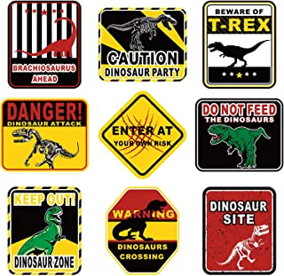 9 Pieces Dinosaur Party Decorations Be Ware of Dinosaur Theme Party Wall Decor Dinosaur Party Signs for Kids Birthday Party Dinosaur Theme Party Supplies