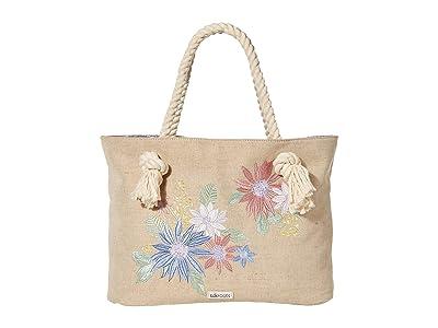 Sakroots Bayside Reversible Tote (Pastel Flower Garden) Handbags
